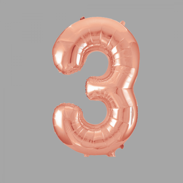 Balloonista Rose Gold Supershape Number 3 Three