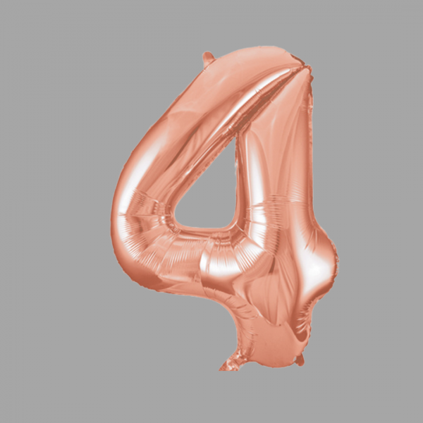 Balloonista Rose Gold Supershape Number 4 Four