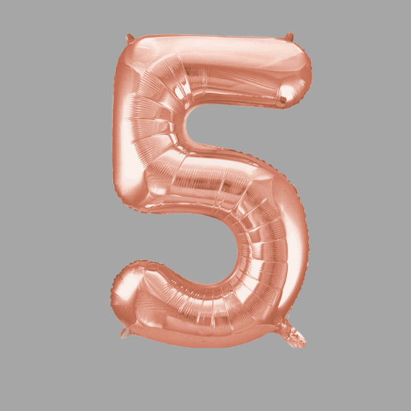Balloonista Rose Gold Supershape Number 5 Five