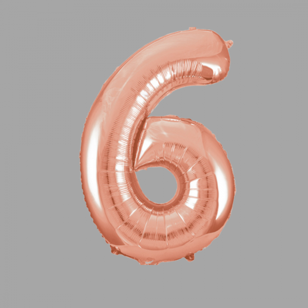 Balloonista Rose Gold Supershape Number 6 Six