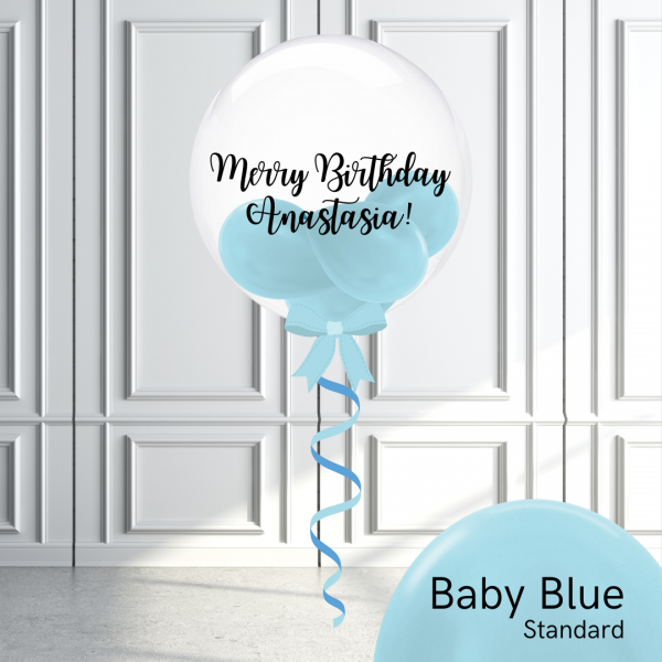 Balloonista Stuffed Clear Bubble Balloon Baby Blue