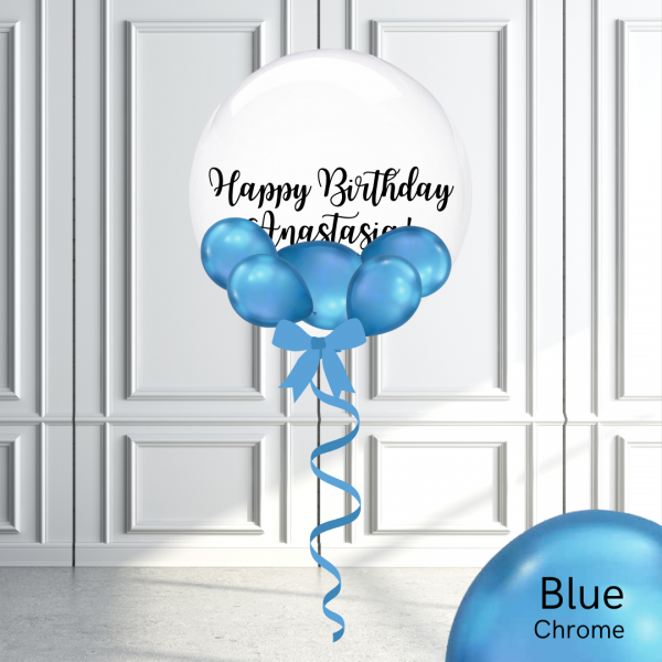 Balloonista Stuffed Clear Bubble Balloon Chrome Blue
