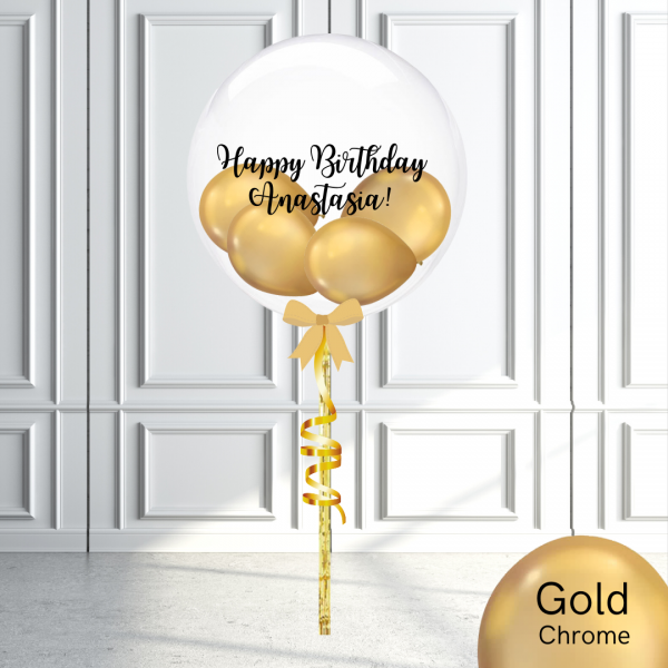 Balloonista Stuffed Clear Bubble Balloon Chrome Gold