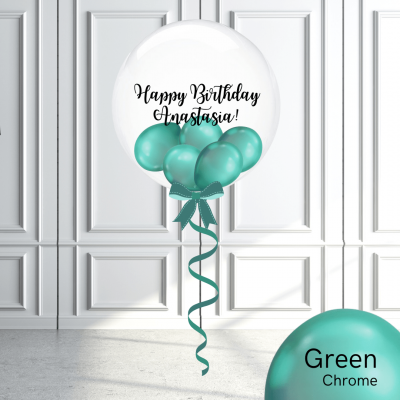 Balloonista Stuffed Clear Bubble Balloon Chrome Green