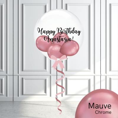 Balloonista Stuffed Clear Bubble Balloon Chrome Mauve Pink
