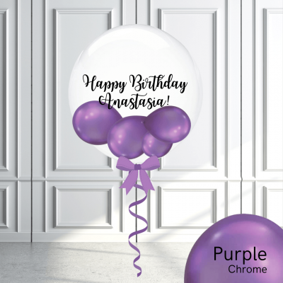 Balloonista Stuffed Clear Bubble Balloon Chrome Purple