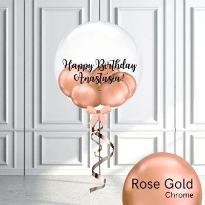 Balloonista Stuffed Clear Bubble Balloon Chrome Rose Gold