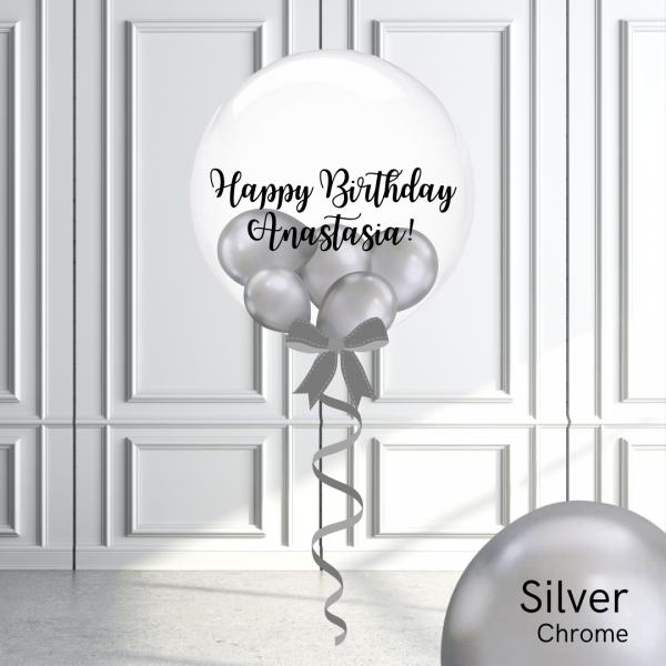 Balloonista Stuffed Clear Bubble Balloon Chrome Silver