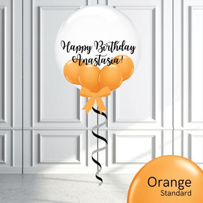 Balloonista Stuffed Clear Bubble Balloon Orange