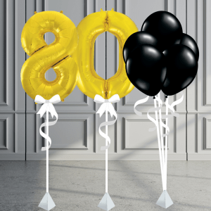 Balloonista Number Package Inflated Balloons Gold And Glack