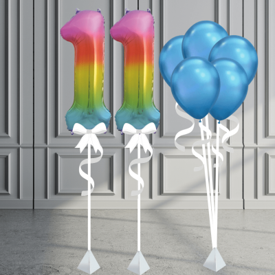 Balloonista Number Package Inflated Balloons Rainbow And Chrome Blue