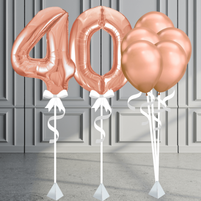 Balloonista Number Package Inflated Balloons Rose Gold