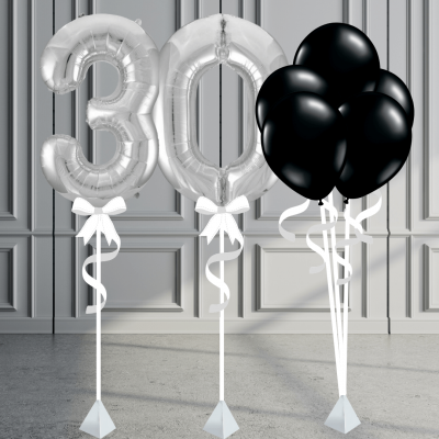Balloonista Number Package Inflated Balloons Silver And Black