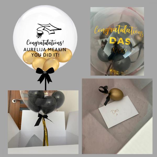 Balloonista Graduadtion Balloon Gold And Black Chrome Gold Balloon For Graduation Celebration