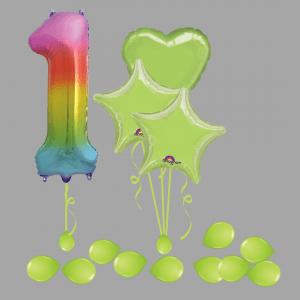 Balloonista Foil Balloon Number 1 Rainbow Balloon Bundle