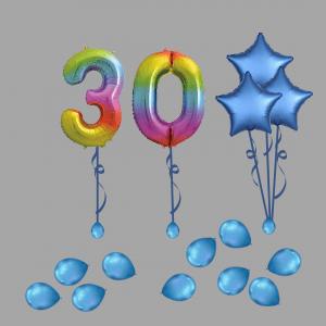 Balloonista Foil Balloon Number 30 Thirty Rainbow Balloon Bundle