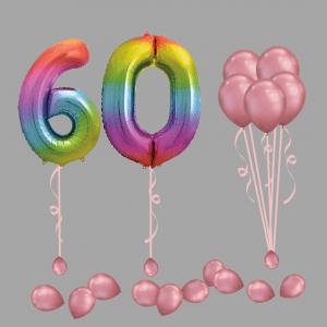 Balloonista Foil Balloon Number 60 Sixty Rainbow Balloon Bundle