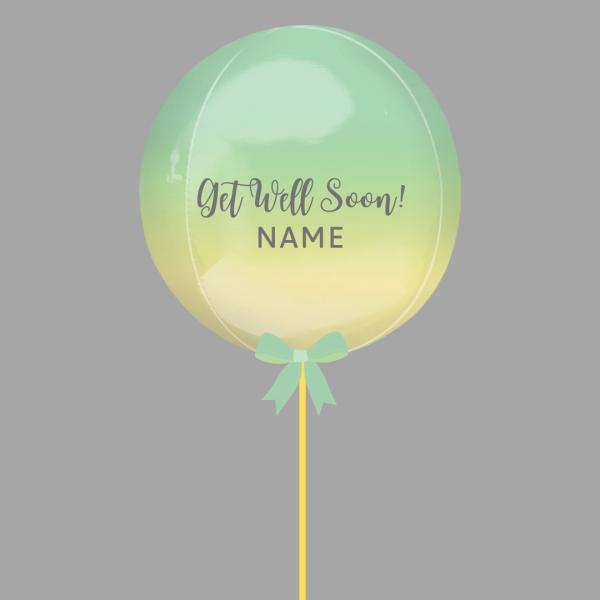 Balloonista Get Well Balloon Green Yellow Ombre Rainbow Balloon