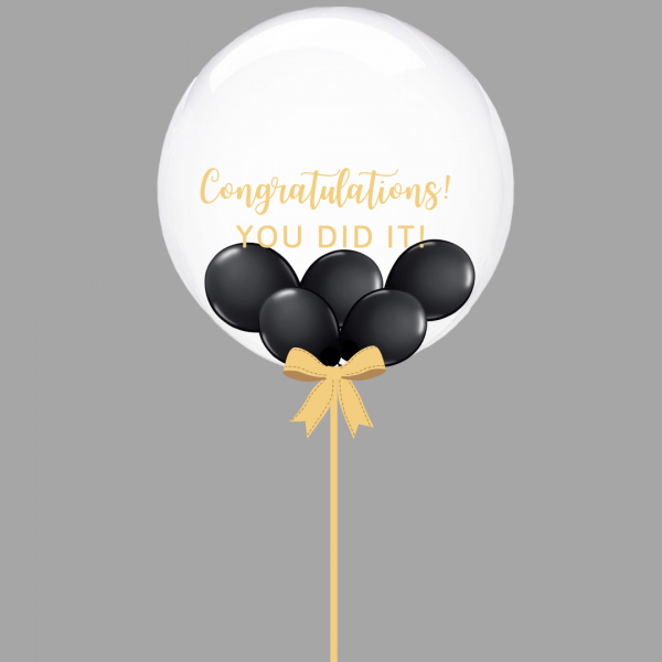 Balloonista Graduation Bubble Balloon Black Mini Balloons Inside