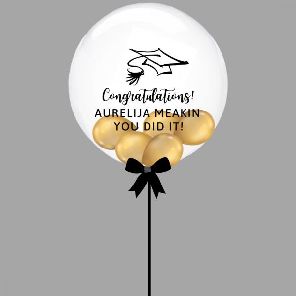 Balloonista Graduation Bubble Balloon Chrome Gold Inside
