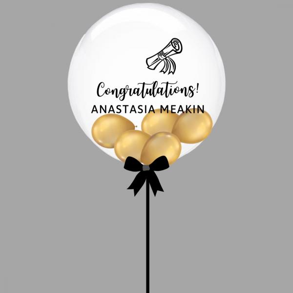 Balloonista Graduation Bubble Balloon Chrome Gold Inside With Graduation Scroll