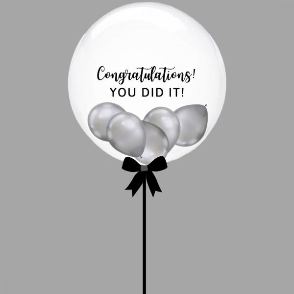 Balloonista Graduation Bubble Balloon Chrome Silver Mini Balloons Inside Congratulations You Did It