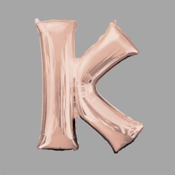 Rose Gold Supershape Letter K 34 Inch Balloonista