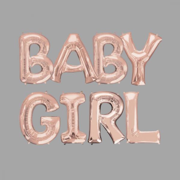 Rose Gold Balloon Letter Word Baby Girl