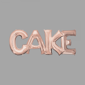 Rose Gold Balloon Letter Word Cake
