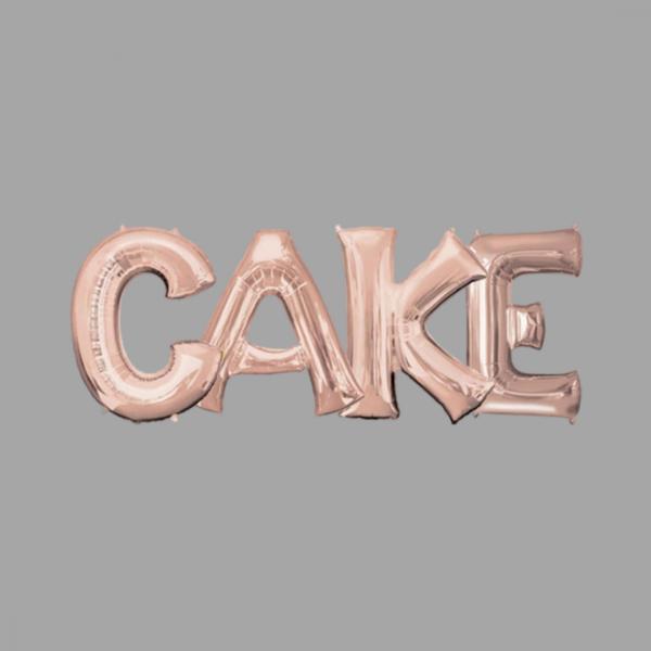 Rose Gold Balloon Letter Word Cake
