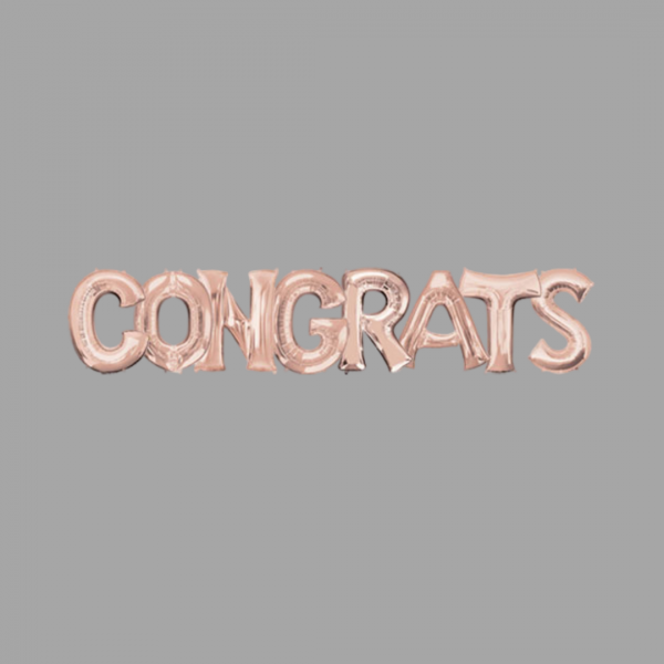 Rose Gold Balloon Letter Word Congrats