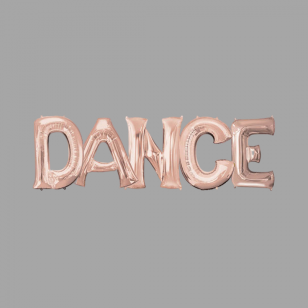 Rose Gold Balloon Letter Word Dance