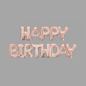 Rose Gold Balloon Letter Word Happy Birthday