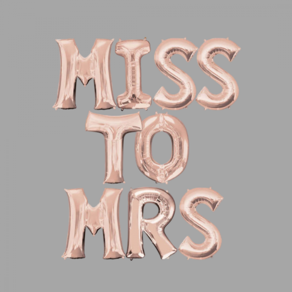 Rose Gold Balloon Letter Word Miss To Mrs
