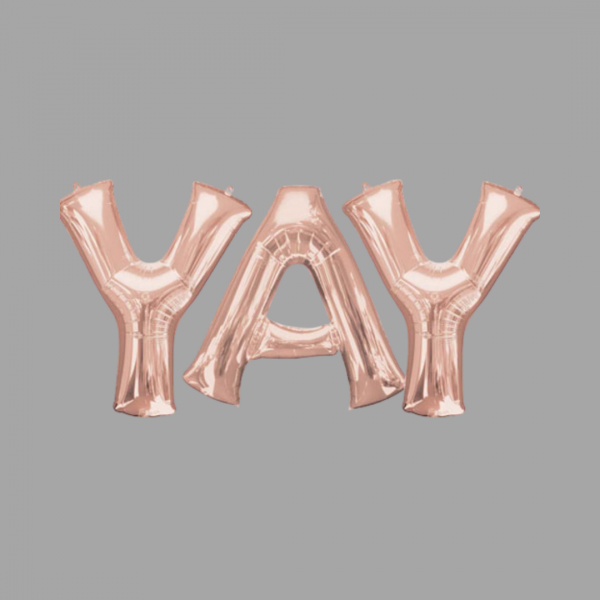 Rose Gold Balloon Letter Word Yay