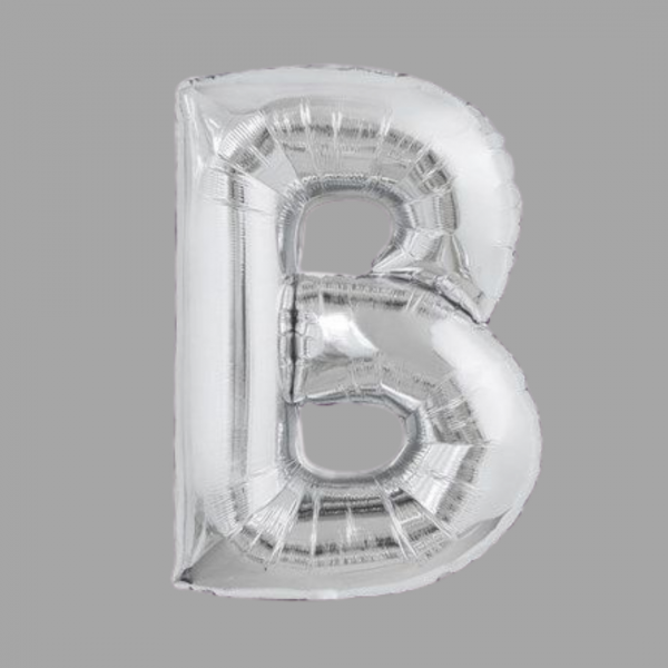 Silver Supershape Letter B 34 Inch Balloonista.png