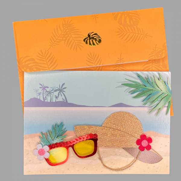 Luxury 3d Celebration Card Beach Hat Sand Holiday Ocean Island Palm Tree Card Blank Inside For Your Message