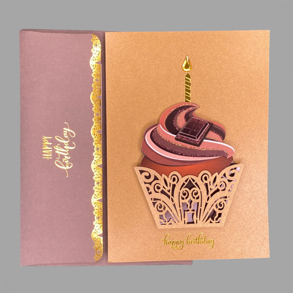 Luxury 3d Celebration Card Cupcake Cake Candle Birthday Congratulations Card Message Wishing You An Absolutely Decadent Bnirthday