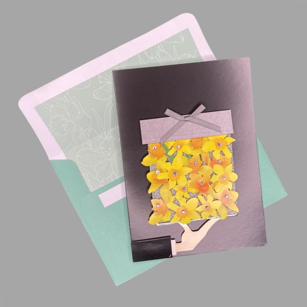 Luxury 3d Celebration Card Daffodills Birthday Sympathy Congratulations Card Blank Inside For Your Message 2