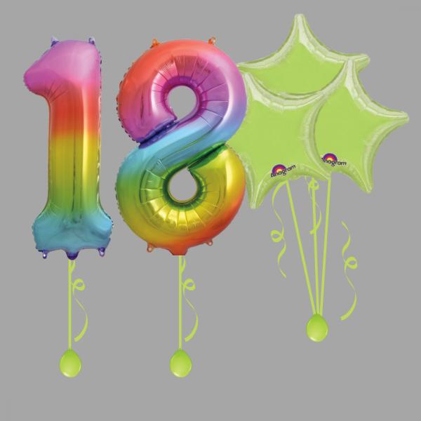 Rainbow Number Eighteen Balloon Bundle Package