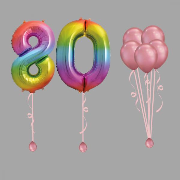 Rainbow Number Eighty Balloon Bundle Package