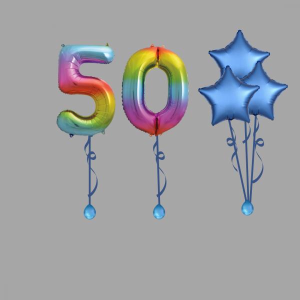 Rainbow Number Fifty Balloon Bundle Package