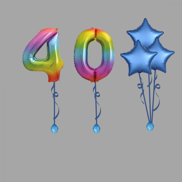 Rainbow Number Forty Balloon Bundle Package