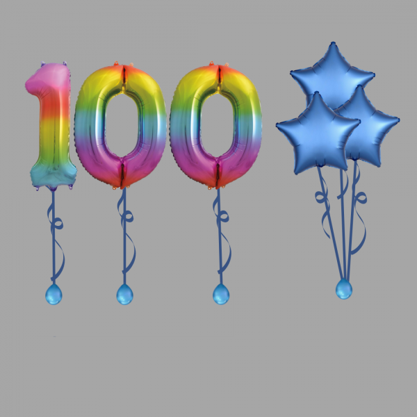 Rainbow Number One Hundred Balloon Bundle Package