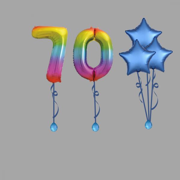 Rainbow Number Seventy Balloon Bundle Package