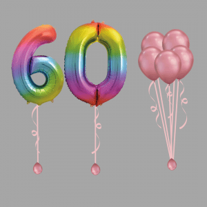Rainbow Number Sixty Balloon Bundle Package