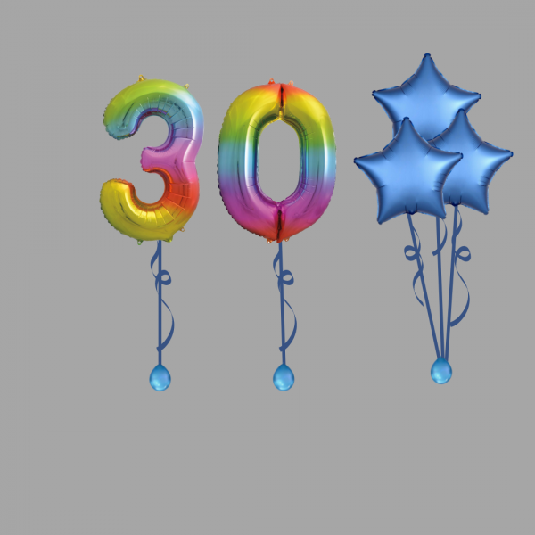Rainbow Number Thirty Balloon Bundle Package