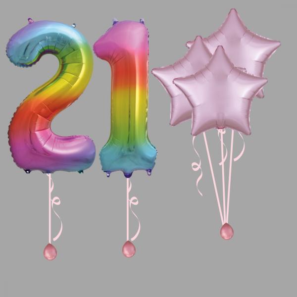 Rainbow Number Twenty One Balloon Bundle Package