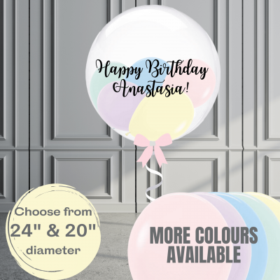 Balloonista Stuffed Clear Bubble Balloon Pastel Colours Available 20in And 24in