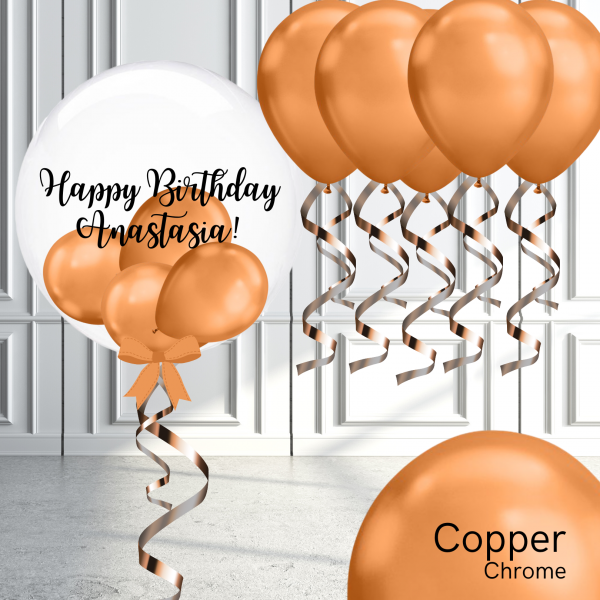 Balloonista Bubble And Latex Balloon Package Chrome Copper